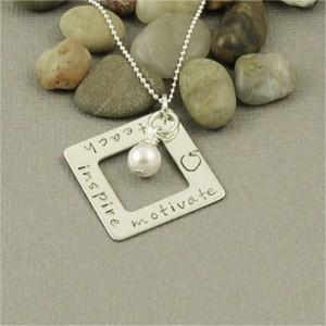 teach motivate inspire necklace